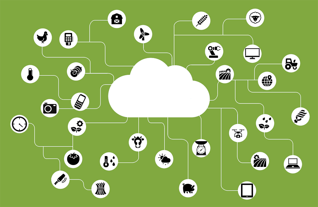 Internet of agri-things cloud and icons