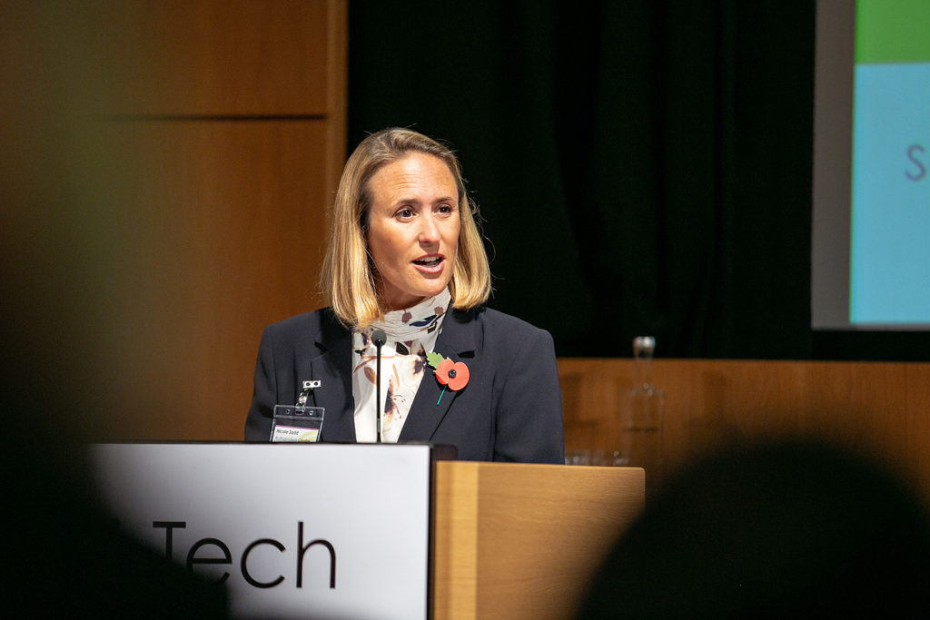Nicole Sadd, RoCRE, chairing the Start-Up Showcase at REAP 2018