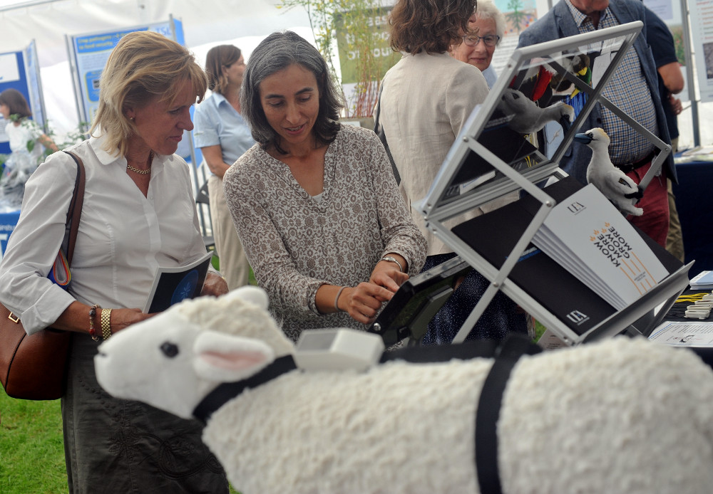 NFU President Minette Batters is shown how Movetech works by UEA's Aldina Franco