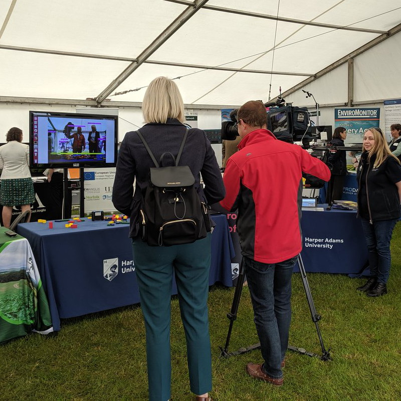 BBC Look East filming in the Innovation Hub at the 2019 Royal Norfolk Show