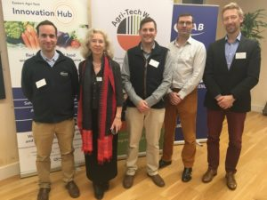 Speakers at the NIAB Agri-Tech Week event on baby leaf from left to right Graham Taylor, Lydia Smith, Robert Parker, Jim Stevens and Arnould Witteveen