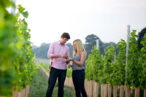 Ben & Hannah Witchell in the vines - Flint Vineyard CROP