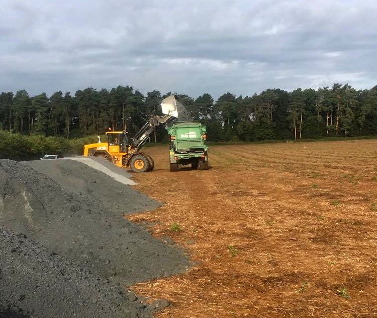 Paper crumble being used in-field