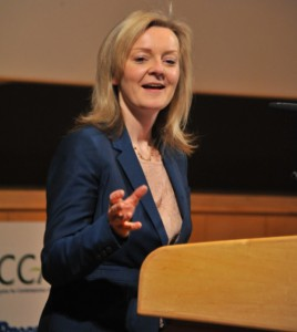 Elizabeth Truss, MP speaking at the Norfolk Farming Conference