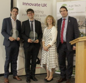 Dallan Byrne (SoilSense), David Godding (Farming Data), Belinda Clarke (Agri-Tech East) and Howard Partridge (Innovate UK)