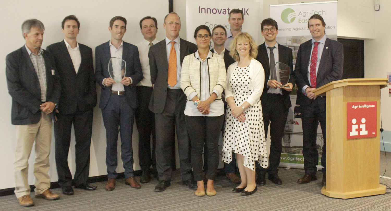 Simon Bowen (BBRO, judge), Dallan Byrne (SoilSense, winner), Maciej Klemm (SoilSense, winner), Rob Alston (AF Finance, keynote speaker), Nicholas Wigdahl (Data Granary, finalist), Pascale Martin (Agronomex, finalist), Jonathan Tole (Soil-for-Life, finalist), David Langton (Agrii, judge), Belinda Clarke (Agri-Tech East), David Godding (Farming Data, winner), Howard Partridge (Innovate UK, judge) at GROW 2017 final