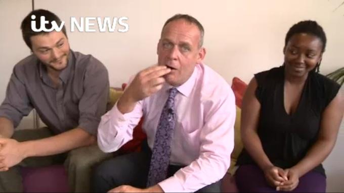 ITV Anglia reporter Matt Hudson tries a bug